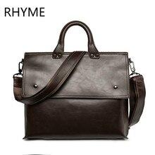 RHYME Promotion Luxury Genuine Leather Business Men Briefcase Bag Laptop Handbag Man Shoulder Bag Bolsa Maleta Maletin