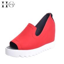 Hee Grand/клинья сандалии-гладиаторы Лето Стиль женские ботильоны обувь на платформе Женская обувь без застежек без каблука женская обувь с открытым носком XWZ2583
