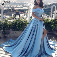 Chic Sky Blue Pleated Off Shoulder High Leg Split Simple A line Evening Dress Custom Made Elegant Formal Maxi Gowns Vestidos