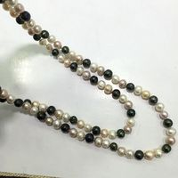 120cm Mix Color White Pink Green Long Necklace Natural Genuine Cultured Freshwater Pearls Take Necklace Three