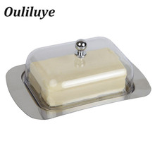 цены Bread Cakes Container Storage Dishes Steak Box Kitchen Cooking Tools Dish Tray With Cover Convenient Stainless Steel Butter Box