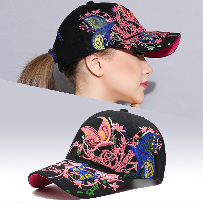 2018 Summer Female Flowers Butterfly Embroidered   Baseball     Cap   Women' hats Fashion Casual Lady Adjustable Snapback Hat Female   Cap