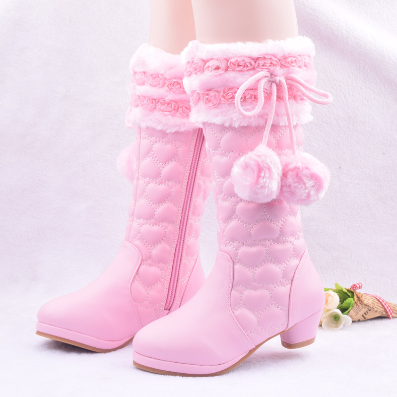 High Girls Boots 2018 Plush Mid-Calf Winter Boots For Girls Snow Boots Kids Children Shoes Princess Fashion Flower Leather Shoe