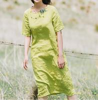 Green Long Purple Linen Summer Women Dresses Summer O Neck Women Dresses