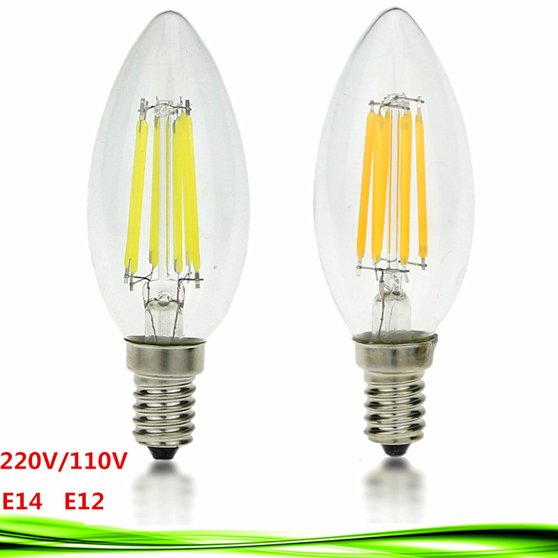 1pcs 4W 6W 9W LED E14 bulb E12 220V 110V AC dimmable C35 LED bulb Filament Candle lamp light warm/cold white Chandelier crystal e14 3w 270lm 6500k white non dimmable led candle candelabrum lamp bulb silver 6 pcs
