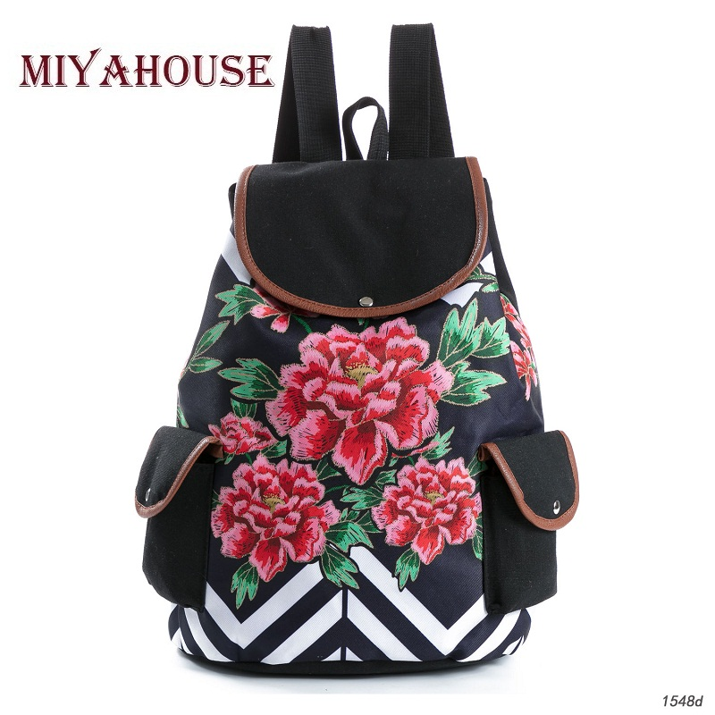 Miyahouse Fashion Floral Print Backpack Women Drawstring Design Travel Rucksacks Striped Canvas School Backpack For Teenagers