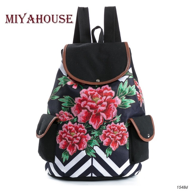 ccbc314dd Miyahouse Fashion Floral Print Backpack Women Drawstring Design Travel  Rucksacks Striped Canvas School Backpack For Teenagers