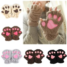 2017 Winter Lovely Women Bear Cat Claw Paw Mitten Plush Gloves Short Finger Half Gloves Ladies Half Cover Female Gloves