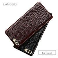 wangcangli For Huawei Honor 7 phone case Luxury handmade genuine crocodile leather back cover
