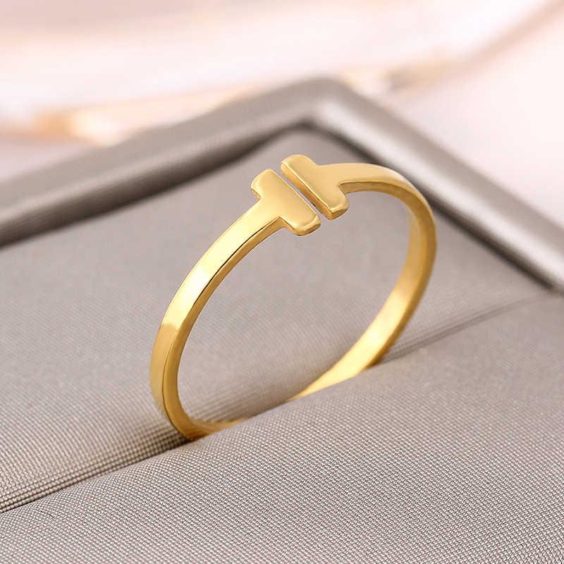 Italina Rigant marque bague de mode réel 14KGP ouverture lettre T en forme de bague en or bijoux JR2040