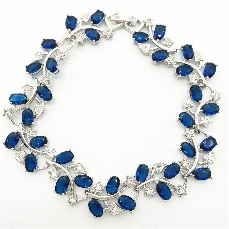 Tree Leaf Shaped Sterling Silver Bracelet For Women White Topaz Blue Tanzanite Sapphire Jewelry Free Shipping