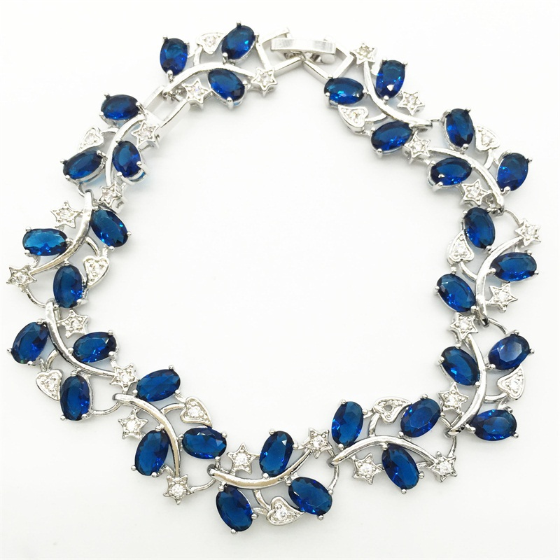 Tree Leaf Shaped Sterling Silver Bracelet For Women White Topaz Blue Tanzanite Sapphire Jewelry Free Shipping