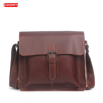 New men's leather shoulder bag women small square bag fashion simple Messenger bag handmade reale genuine leather ipad bag