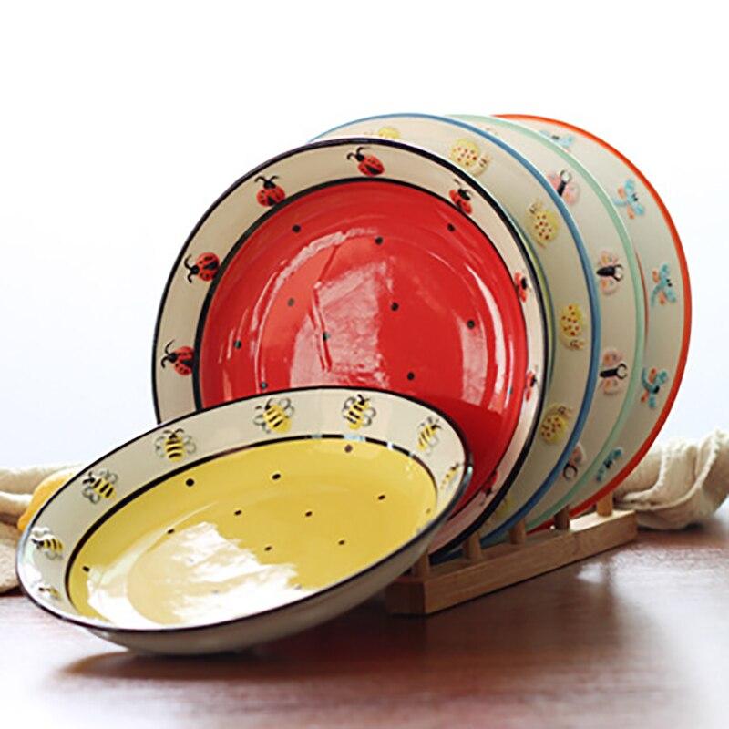 Ensemble de vaisselle à insectes innovant tasse à café en céramique cuillère peinte à la main assiettes coréennes après-midi tasse à thé ensemble de vaisselle en céramique