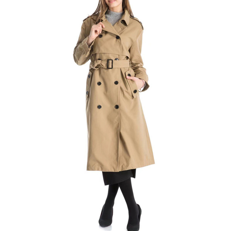 Women Casual Solid Color Double Breasted Ladies Outwear Sashes Office Coat Women Clothes Chic Epaulet Design Long   Trench   Coat