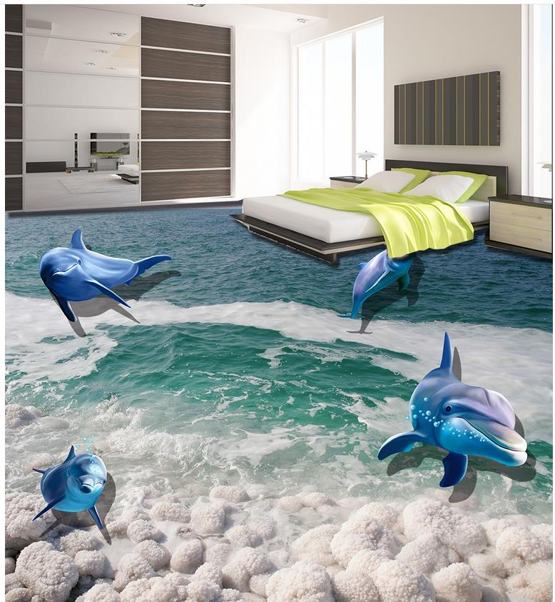 Online Shop PVC Waterproof Floor 3D Stereoscopic Marine Fish Stone Tiles 3d Wallpapers Home Decoration
