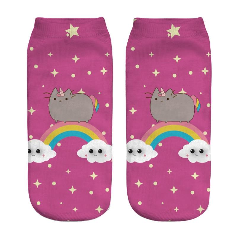 2018 New 3D Printed Cat funny cute cotton ankle   socks   for women ladies harajuku korean   socks