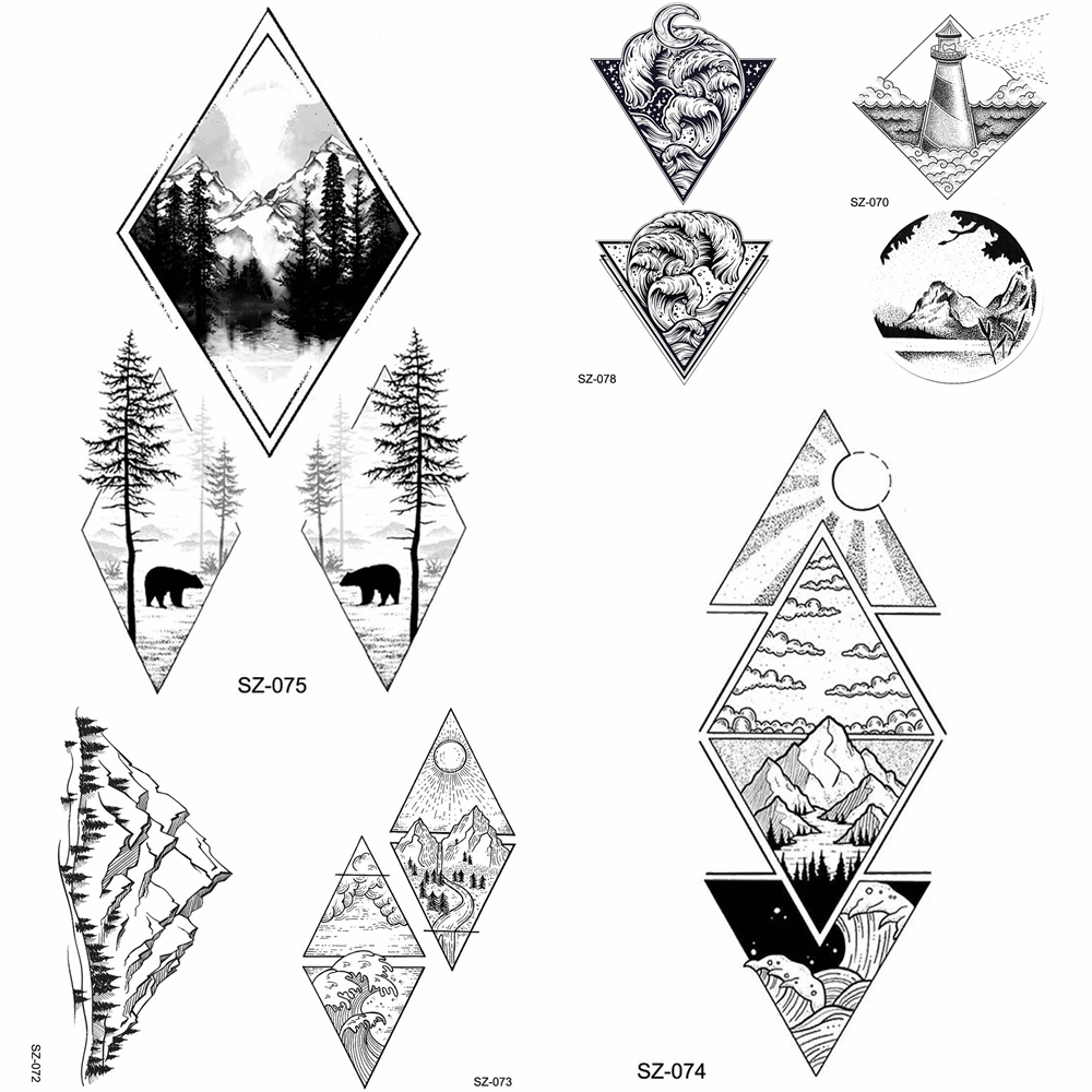 YURAN HOT Black Geometric Temporay Tattoo Stickers Women Body Art Forest Water Transfer Tatoos Triangle Waves Fake Tatoos Moon