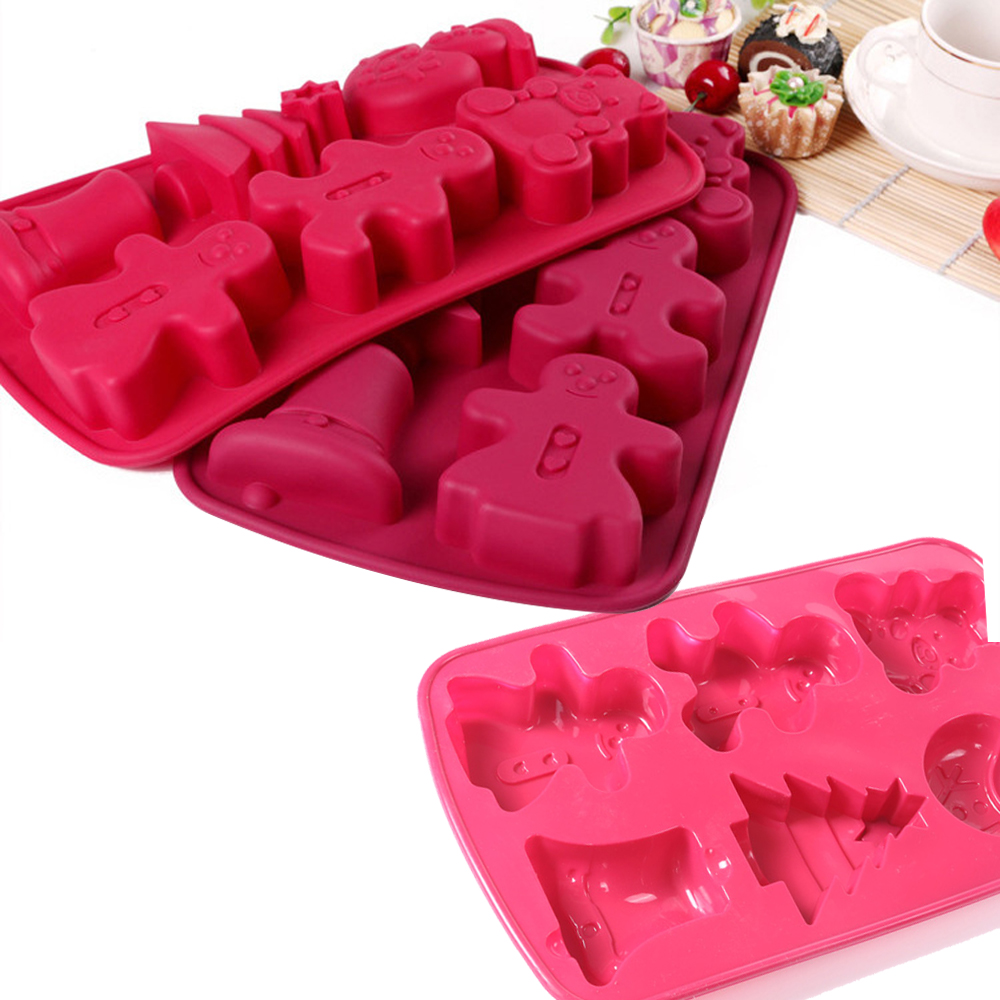 크리스마스 장식 비 스틱 창조적 인 홈 DIY 베이킹 실리콘 초콜릿 웨이퍼 빵 아이스 케이크 금형 퍼지 젤리 사탕 금형