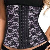 XS~6XL Plus Size Corset 9 Steel Bone Waist Trainer For Women Black 3 Hooks Waist Shaper Hot Shaper