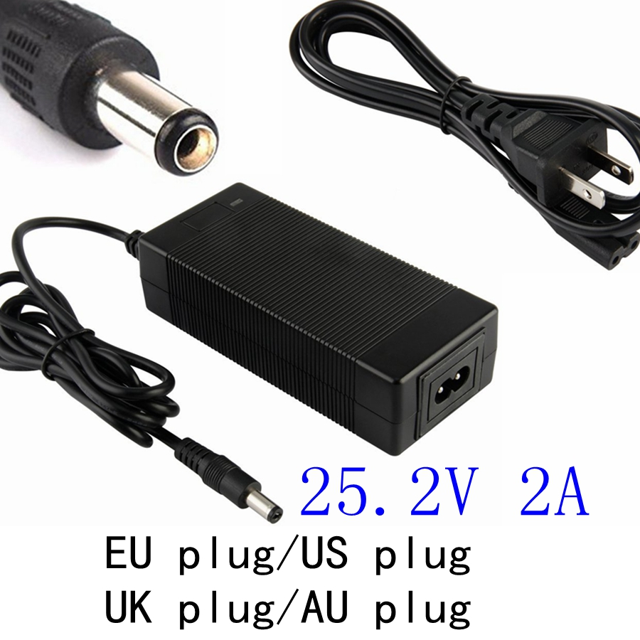 21.6V 22.2V 2A DC 25.2V Three-stages charger for 14500 14650 17490 18500 18650 26500 Polymer lithium battery Pack Charger