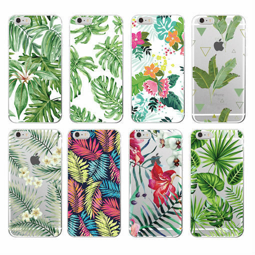 Tree Leaves Tropic Summer Floral  Fashion Soft TPU Printed Phone Case Cover For iPhone 6 6S 7 7Plus 8 8PLUS X XS Max SAMSUNG