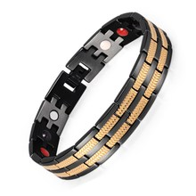 все цены на European and American Fashion Men's Stainless Steel Germanium Bracelet Negative Ion Plating Stainless Steel Magnet Bracelet