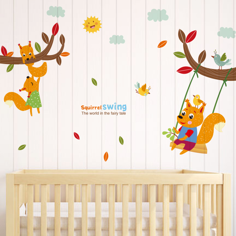DIY veverka houpačka samolepky kreativní strom větev nástěnné umění zvíře domácí dekor obtisky pro děti pokoje školka dekorace