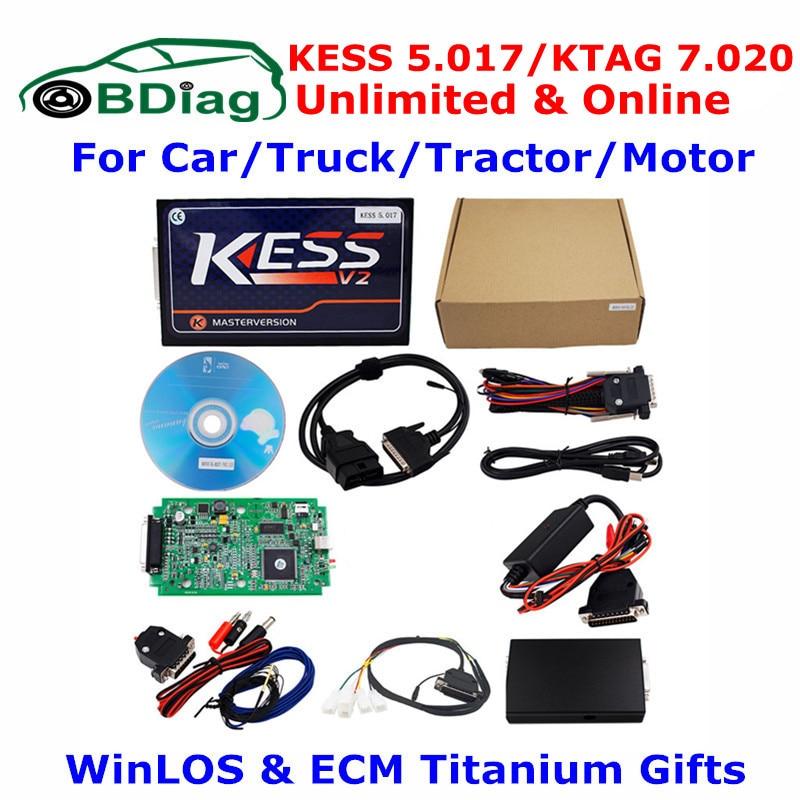 Цена за Unlimited KESS V5.017 KTAG V7.020 онлайн мастер-V2.23 KESS V2 5.017 OBD2 менеджер Тюнинг Комплект K-TAG 7.020 автомобилей Грузовик ЭБУ программист