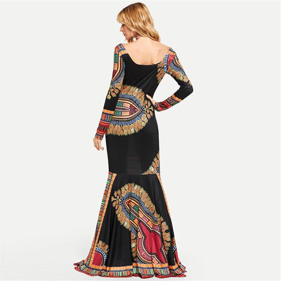 BAIBAZIN African Dresses for Women New Fashion Women's Long Bohemian Long Skirt Print Long Sleeve Vest Skirt (2)