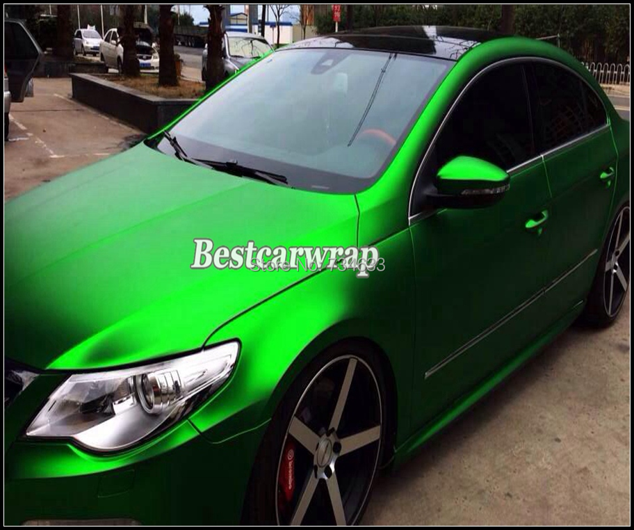 Satin Metallic Matt Chrome Green Vinyl For Car Wrapping