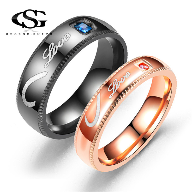 GS 2018 Rose Gold Black Anti-Allergy Smooth Couple Wedding Rings For Women 316l Stainless Titanium Steel Ring Men Jewelry R5