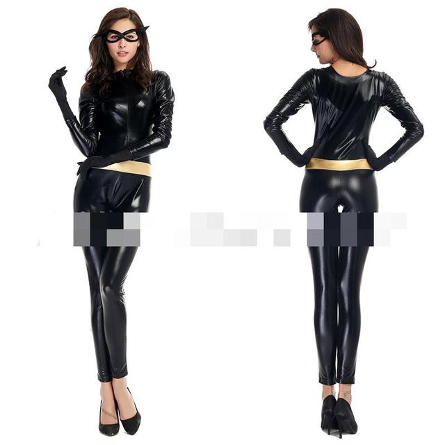 Black Masked Female Flying Man Superman Outfit Jumpsuit Faux Leather Catsuit With Gloves Sexy Catwoman Cosplay