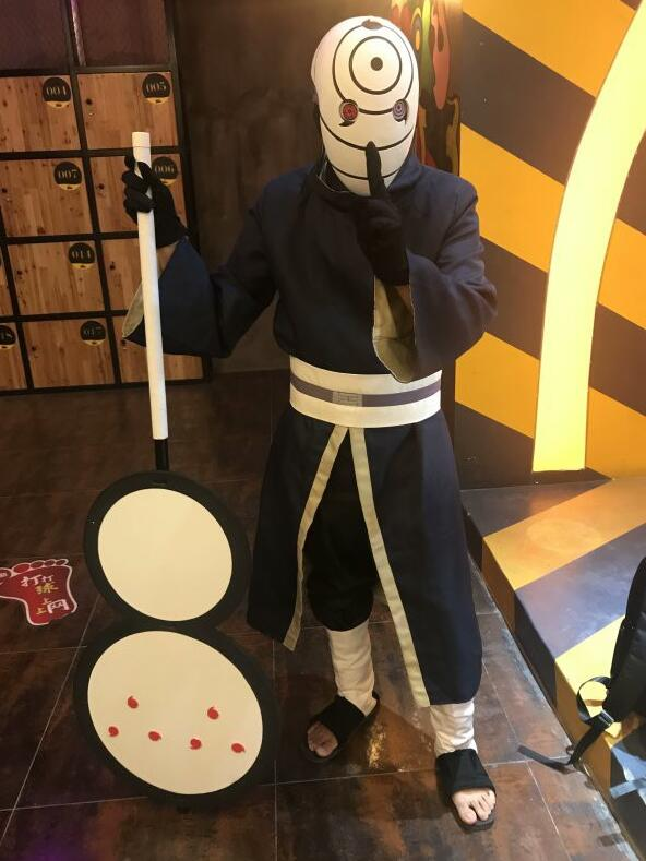 high quality Naruto Cosplay Costumes Uchiha Obito Cosplay Long Sleeves Black Cloak and Mask in Anime Costumes from Novelty Special Use