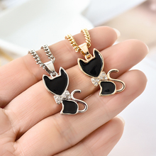 Fashion Girl Lady Animal Black Cat Necklace 2017 New Model Rose golden Plated Free Shipping