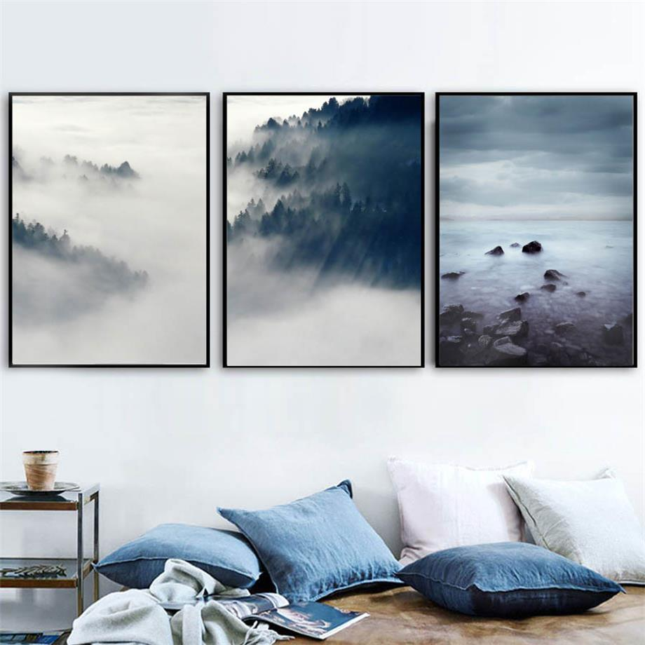 Cloud Forest Sea Mountain Landscape Wall Art Canvas Painting Nordic Posters  And Prints Wall Pictures For Living Room Home Decor