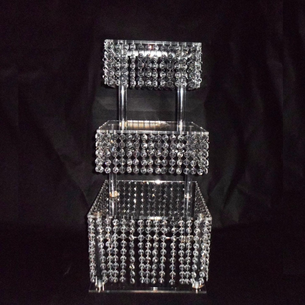 3 Tier Crystal Cake Stand Square Acrylic Cupcake Stand