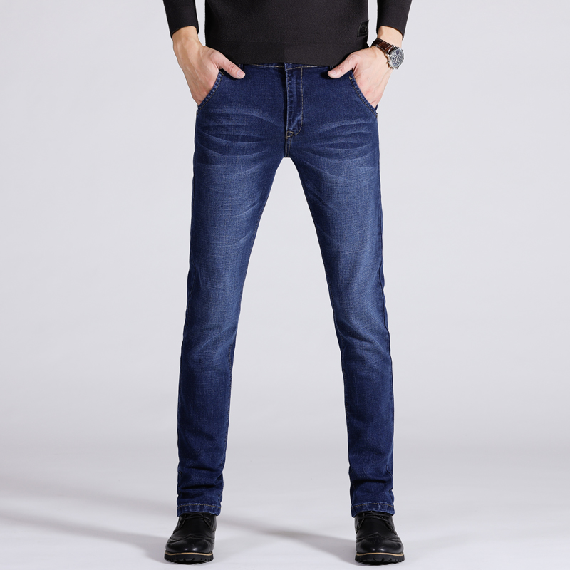 HCXY2018 Men's Business Casual   Jeans   Men Elastic Solid Color Straight Pants   Jeans   Male Spring and Autumn trousers large size28-4