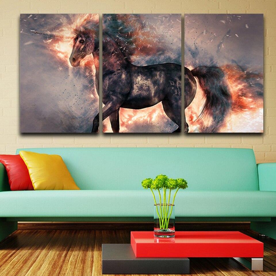 Домашнего декора Модульная картина стены Книги по искусству Плакаты 3 Панель животных абстрактная огненная лошадь Гостиная HD печатных холс...