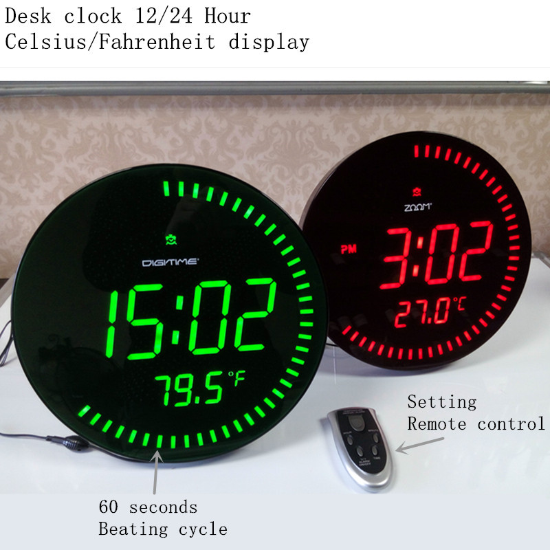 Украшение для дома большой декоративный круглый стол часы Красный Зеленый 3d креативный Круглый Большой светодиодный цифровые настенные часы современный дизайн - 4