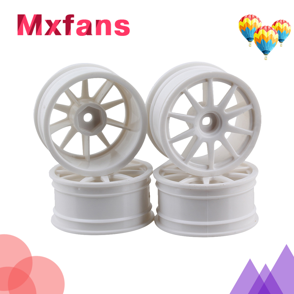 Mxfans 4pcs Yellow Plastic 10-Spoke Wheel Rims 52mm for RC 1:10 On-road Racing Car & Drift Car mxfans 4x black rc 1 10 on road car rubber fish scale tyre