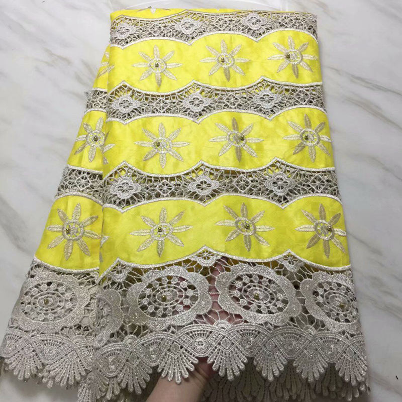 yellow african guipure lace with beads bazin riche getzner 2018 beaded guinea brocade fabric high quality
