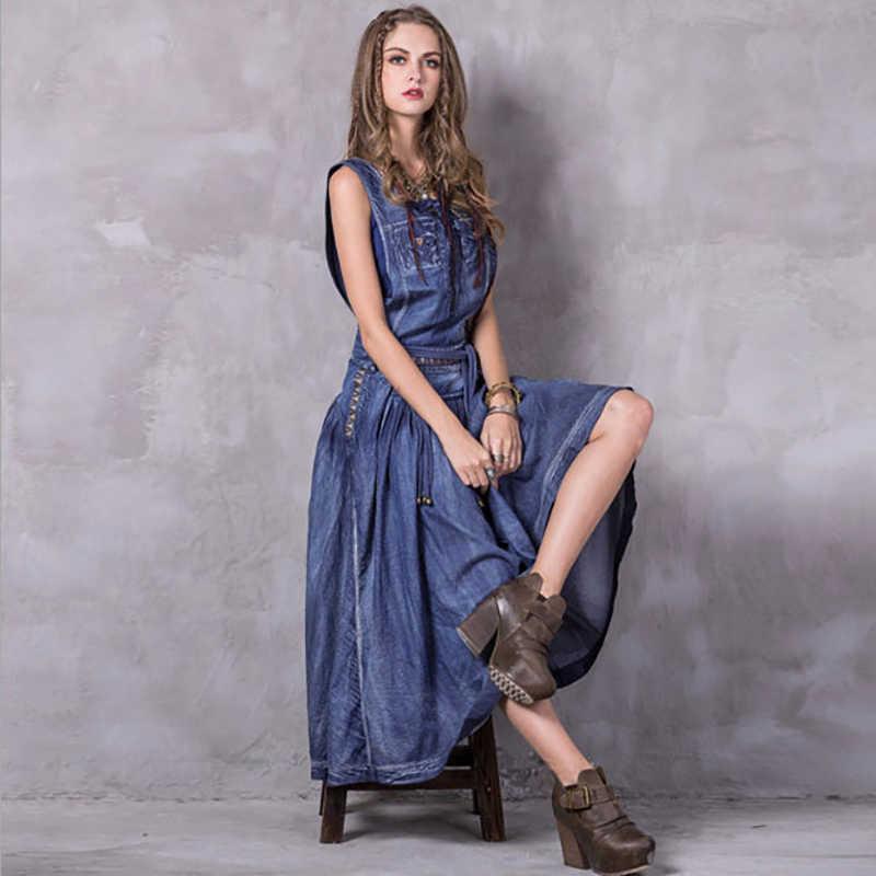 a37a46a1f8c2629 Кисточка вышивка джинсовые платья 2018 сезон: весна–лето Для женщин  Повседневное рукавов длинное платье