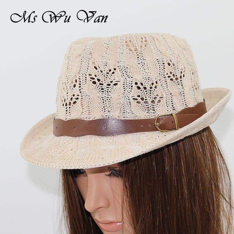 Female Hat Womens Hats for Women Girls Fedora Knitted Chapeu Feminino Autumn Summer Leather Buckle Sun Cap Fashion Jazz Hollow