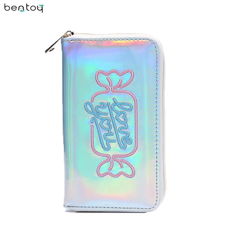 Bentoy Embroidery Candy Women Clutch Wallet Hologram Zipper Leather Wallet Female Metallic Purse Large Organize Bank Card Holder