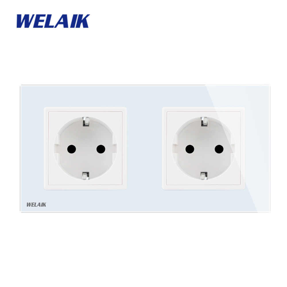 WELAIK 2Frame EU Glass-Panel Wall-Socket Wall Outlet European-Standard Power-Socket AC110~250V A28E8EW/B