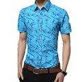 Venta caliente de los hombres del verano camisas de manga corta vuelta-abajo al collar delgado de negocios ropa impreso marca camisas casuales de alta calidad nueva