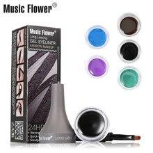 Music Flower Brand Makeup Eye Liner Cream with Make Up Brush Tool Eyeliner Gel Black Eyelid Waterproof Cosmetics 24 HR 5 Color