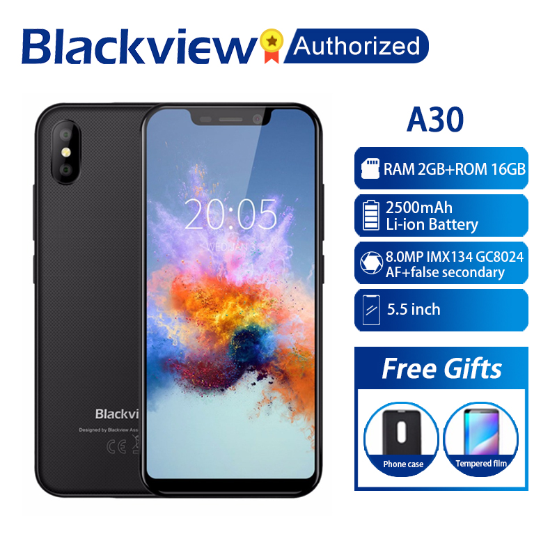 BLACKVIEW A30 Phone 2GB RAM 16GB ROM Smartphone 5.5 19:9 Display Full Screen MT6580A Quad Core 8MP Android 8.1 3G Mobile PhoneBLACKVIEW A30 Phone 2GB RAM 16GB ROM Smartphone 5.5 19:9 Display Full Screen MT6580A Quad Core 8MP Android 8.1 3G Mobile Phone