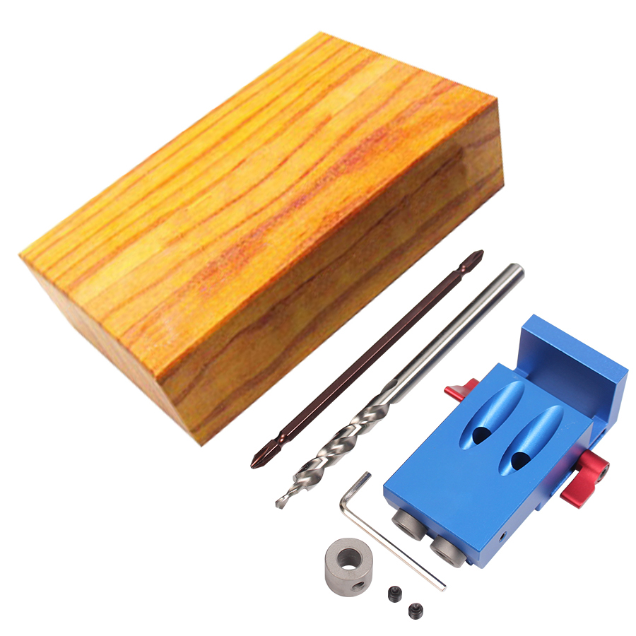 ФОТО Mini Kreg Style Pocket Hole Jig Kit System For Wood Working & Joinery + Step Drill Bit & Accessories Wood Work Tool Set With Box